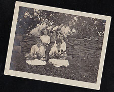 Antique Vintage Photograph Women Sitting On & By Stone Wall With Flowers
