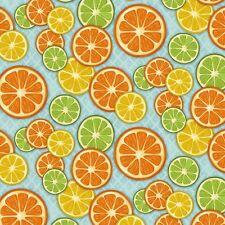 By 1/2 Yard SPX Citrus Grove Cotton Fabric ~ Orange Lemon Lime Blue kitchen food
