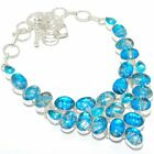 """Blue Triplet Fire Opal, blue Topaz Silver Jewelry Necklace 18"""" MQR-3014"""