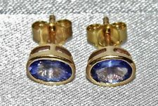 9ct Gold 1.20ct Tanzanite Solitaire Stud Earrings - Gift Boxed