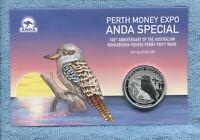 2019 Kookaburra Square Penny Privy $1 SILVER 1 oz  Coin Perth ANDA Expo