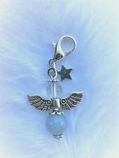 ANGELITE & CLEAR QUARTZ ANGEL CRYSTAL HEALING GEMSTONE CLIP ON CHARM GIFT CHAKRA