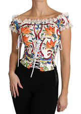 DOLCE & GABBANA Corset Top Blouse White Majolica Cropped IT48/US14/XXL RRP $1500