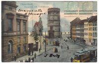 Düsseldorf,Strassenbahn am Burgplatz mit Schloßturm 1907