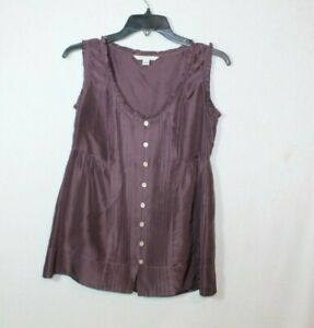 Banana Republic womens blouse size XS purple ruffled tank top silk button down