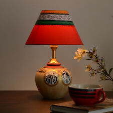 Unravel India Teracotta Madhubani Handpainted Table Lamp