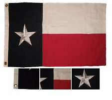 2x3 Embroidered State of Texas 100% Cotton flag 2'x3' Clips (Fully Emb Star)