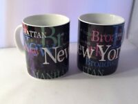 New York City Souvenir Porcelain Coffee Mugs by Jay Joshua Two Mugs