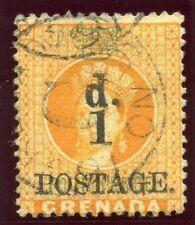 Grenada 1886 QV 1d on 4d orange & green very fine used. SG 39. Sc 29.