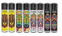 8 Ct Full Size CLIPPER Flint Lighters Refillable MANDALA 4 LIMITED HAND WITH EYE