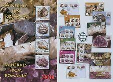 Rumänien 2018 Mineralien,Sulfide,Carbonate,Quarz Mi.7404-07,Zf,KB,Block 745,FDC