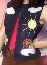 Vintage 1970s Dotti Didit Patchwork Clouds Sunshine Denim Vest Size 8 Hippie