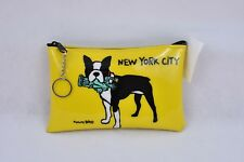 New Marc Tetro New York Ciry Cosmetic Case with Keyring Boston Terrier
