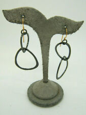 Rebecca Norman Gold Tone and Oxidized Double Triangle Hammered Earrings Signed