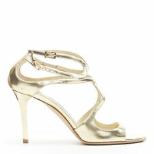 JIMMY CHOO metallic gold leather strappy ankle strap open toe heel sandal EU36.5