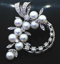 14K white gold 1.21CT VS diamond & pearl flower wreath brooch