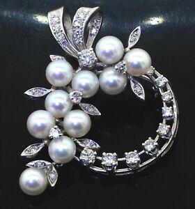 14K white gold 1.21CT VS diamond & pearl flower wreath brooch