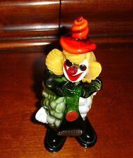 "MURANO 8""inch Clown Orange Swirly Wizard Hat w/Label"