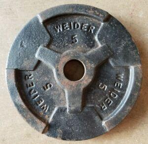 SINGLE Weider Barbell 5 lb Standard Weight Plate Cast Iron