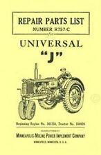 Minneapolis Moline Model J Tractor Parts Manual