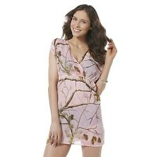 Realtree Swim Wear Cover Up Pink Camouflage Trees V-Neck NEW Small S