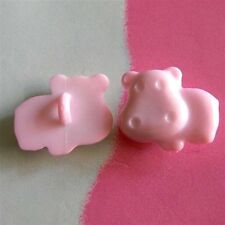 20 Hippo Animal Children Craft Novelty Shank Clothes Sewing Buttons Pink K372