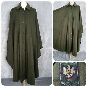SALZBURGER LODEN LOOK green long cape wool pockets Austria womens One Size