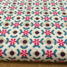 Shabby Chic Blue/dark Pink Stars Flowers 100% Cotton Fabric. Price per 1/2 meter