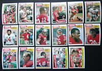 1987 Topps San Francisco 49ers Niners Team Set of 17 Football Cards