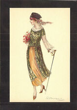 POSTCARD:  SERGIO BOMPARD, ITALY - ART DECO FASHION GLAMOUR GIRL CARRYING ROSES
