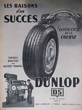 PUBLICITÉ PRESSE 1953 PNEUS DUNLOP D5 - L'EXPÉRIENCE DE LA CORSE - ADVERTISING