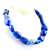TRUELY MARVELLOUS 488.00 CTS NATURAL UNTREATED BLUE LAPIS LAZULI BEADS NECKLACE