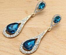 Woman's BIue Crystal Rhinestone Silver Plated  Long Ear Stud Hoop earrings 230
