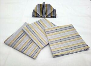 Yellow Gray Beige Stripes Cloth Napkins (Set of 4)