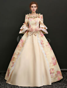 Rococo Vintage Costume Halloween Sissi Champagne Women's Long maxi prom Dresses