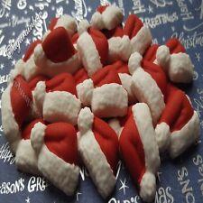 24 Edible sugar santa hat christmas cake cupcake topper decorations