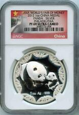 2012 1oz China Silver Panda ANA World's Fair of Money NGC PF69 UC Milky Areas 68