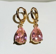 Gold Drop Dangle Earrings with Pink Pear Sim Sapphires 18k gf CRUISE GIFT BOXED