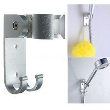 Adjustable Bathroom Shower Head Holder Stand Bracket Wall Mount w/ Hook Aluminum