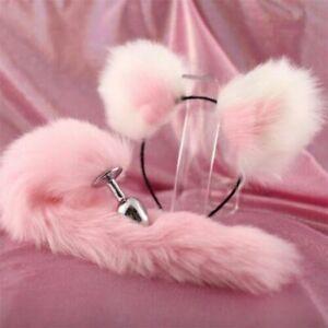 Cute Soft Cat Ears Headband Metal Plug Fox Tail Bead Plug Insert Stopper Cosplay