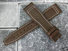 20mm TOP GUN Brown Genuine Calf LEATHER STRAP Watch Band White Stitch IWC PILOT