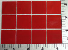 """0124.50 - 12 Thin Opaque Red 1"""" x 1"""" Of Bullseye Glass 90 Coe Tested Compatible"""