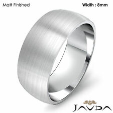 Solid Platinum Plain Dome Mens Wedding Band High Polished Ring 8mm 12.1gm 8-8.75