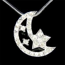 w Swarovski Crystal CRESCENT MOON STAR Islamic Bridal Pendant Chain Necklace New