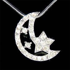 w Swarovski Crystal CRESCENT MOON STAR Islamic Bridal Pendant Chain Necklace New