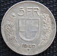 SUISSE 5 FRANCS 1940 B ARGENT