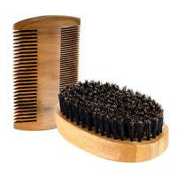 Men's Boar Hair Bristle Beard Mustache Care Military Wood Handle Brush Comb Set