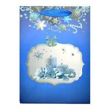 1 x piccolo Lussuosa regalo di Natale sacco-BLU-decorativo con brillantini Sacchetto di carta