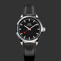ESS Mens Watch Automatic Black Dial Leather Strap 3 Hands Analog Display Luxury