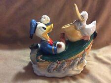 Disney Enesco Angry Donald Duck Fishing Boat w/ Pelican Porcelain Bank
